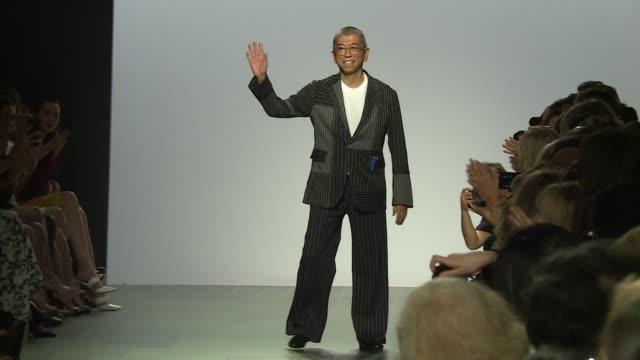 Tadashi Shoji walks the runway at Tadashi Shoji Runway September 2017 New York Fashion Week The Shows at Skylight Clarkson Sq on September 07 2017 in...