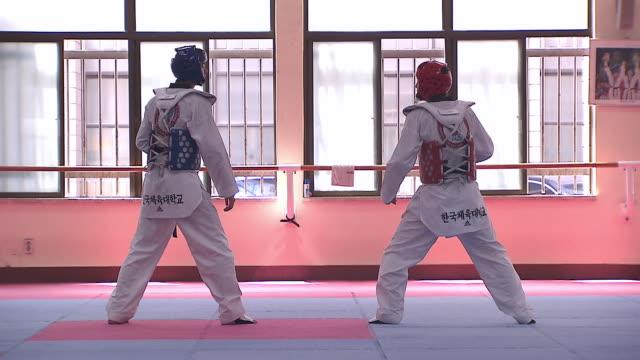 ms taekwondo fighters doing training / seoul, south korea - taekwondo stock videos & royalty-free footage