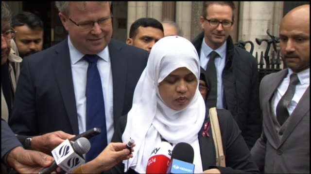 tafida raqeeb's mother shelina begum speaking outside court after winning the case that will allow her daughter to receive further treatment in italy... - legal trial stock videos & royalty-free footage