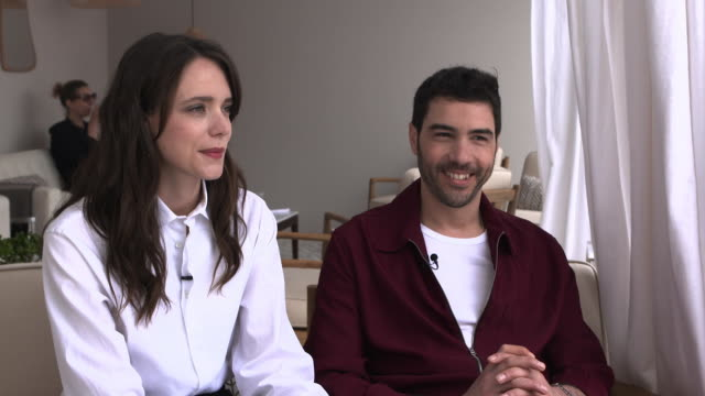 """tahar rahim and stacy martin on gambling, the thrill of gambling and would they gamble for real at """"treat me like fire """" interviews - the 71st annual... - 第71回カンヌ国際映画祭点の映像素材/bロール"""