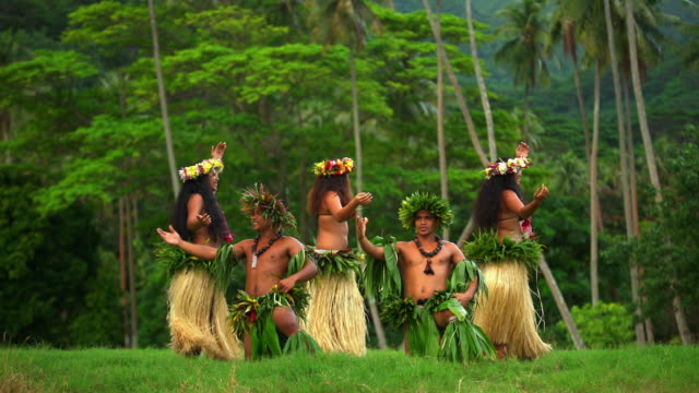tahitian hula dancers performing barefoot in traditional costume - female with group of males stock videos and b-roll footage