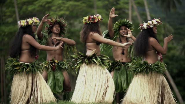 tahitian hula dancers performing outdoor barefoot south pacific - female with group of males stock videos and b-roll footage