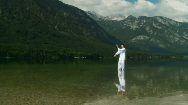 hd crane: tai chi in nature - martial arts stock videos and b-roll footage