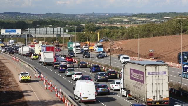 tailbacks on the m1 motorway in the east midlands caused by roadworks, uk. - traffic stock videos & royalty-free footage