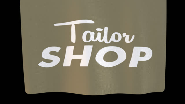 tailor shop unfolding cloth sign. alpha channel will be included when downloading the 4k apple prores 4444 file only - shop sign stock videos & royalty-free footage