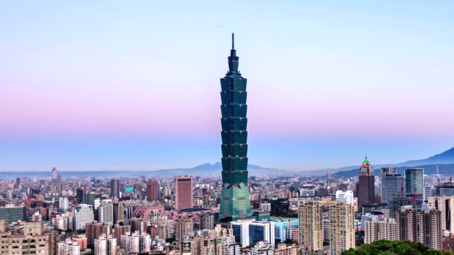taipei 101 at sunrise - taipei 101 stock videos and b-roll footage