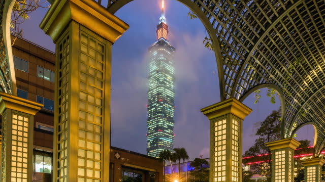 taipei archway lit at nighttime lapse zoom in 4k. - taipei stock videos & royalty-free footage