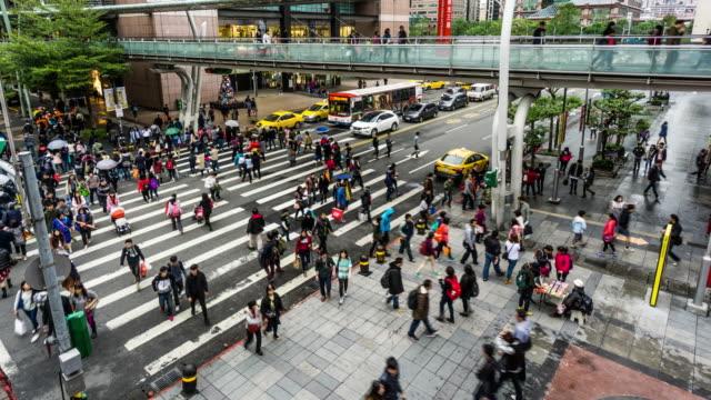 Taipei, China: Timelapse of the busy Taipei downtown, Taiwan, China