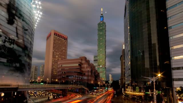 taipei city at rush hour - taipei 101 stock videos & royalty-free footage