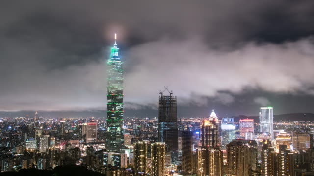 taipei cityscape 4k time lapse - taipei 101 stock videos & royalty-free footage
