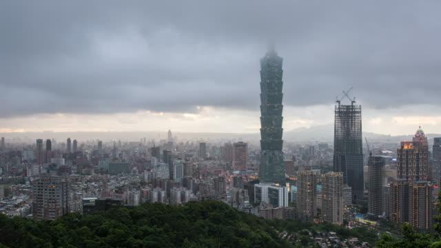 vídeos y material grabado en eventos de stock de taipei cityscape 4k time lapse - taipei 101