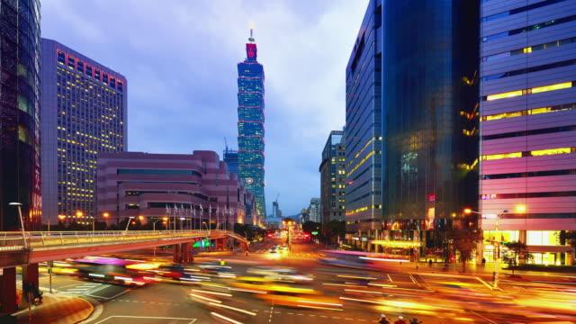 Taipei Cityscape and Taipei 101 Tower, Sunset to Night