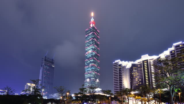 taipei cityscape and taipei tower at night - taipei 101 stock videos and b-roll footage