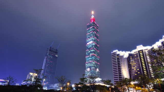 taipei cityscape and taipei tower at night - taiwan stock videos and b-roll footage
