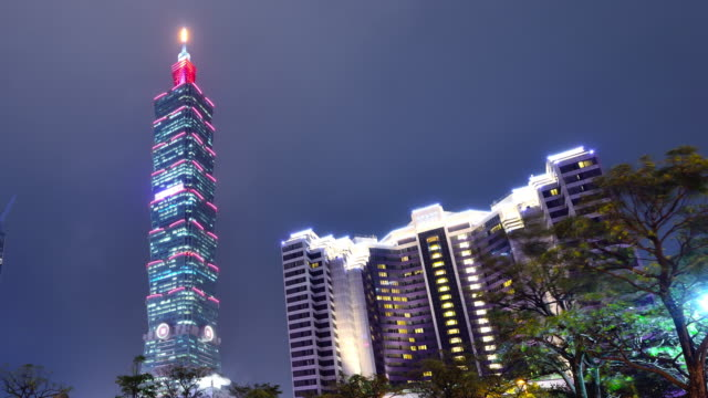 Taipei Cityscape and Taipei Tower at Night