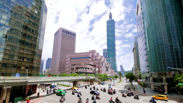 taipei financial district at sunny day - taiwan stock videos and b-roll footage
