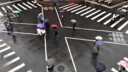 Taipei pedestrian crossing in rain time lapse - elevated view