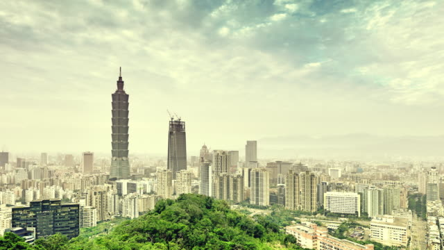 taipei skyline and taipei tower - taipei 101 stock videos & royalty-free footage