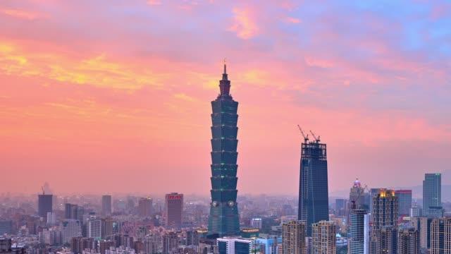 4k: taipei skyline at sunset to night time lapse, taipei city - sunset to night time lapse stock videos & royalty-free footage