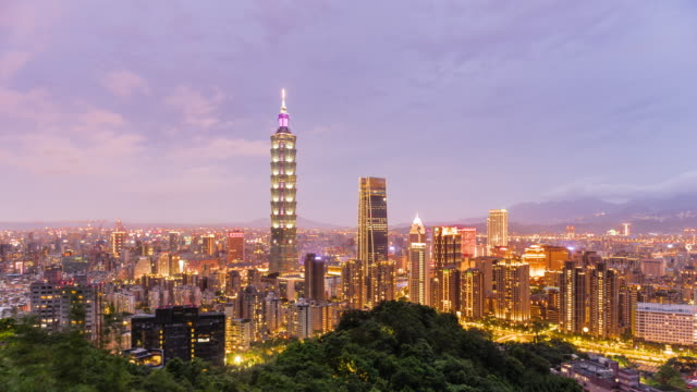 taipei skyline day to night time lapse - taipei 101 stock videos and b-roll footage