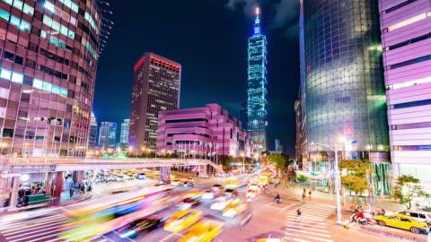 taipei world trade center and taipei 101 in xinyi business district - taipei stock videos & royalty-free footage