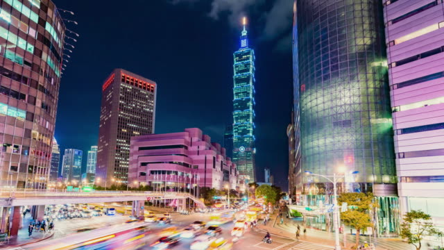 taipei world trade center and taipei 101 in xinyi business district - taipei 101 stock videos & royalty-free footage