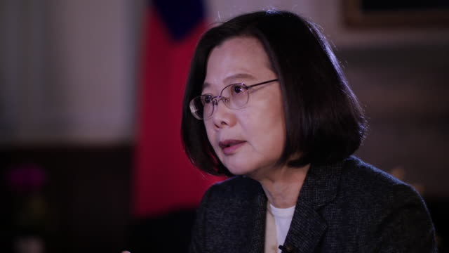 taiwan president tsai ingwen saying taiwan deserves respect from china - insel taiwan stock-videos und b-roll-filmmaterial