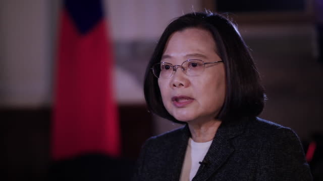 taiwan president tsai ingwen talking about military exercises china has been undertaking in close proximity to taiwan - präsident stock-videos und b-roll-filmmaterial