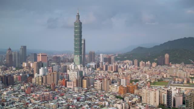 taiwan, taipei, city skyline and taipei 101 building - taipei 101 stock videos & royalty-free footage