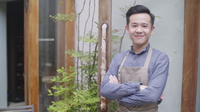 taiwanese cafe owner portrait - food and drink establishment stock videos & royalty-free footage