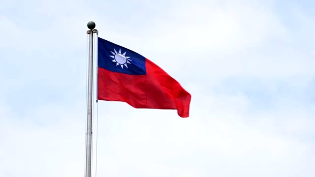 taiwanese flag blowing in the wind - taiwanese flag stock videos & royalty-free footage