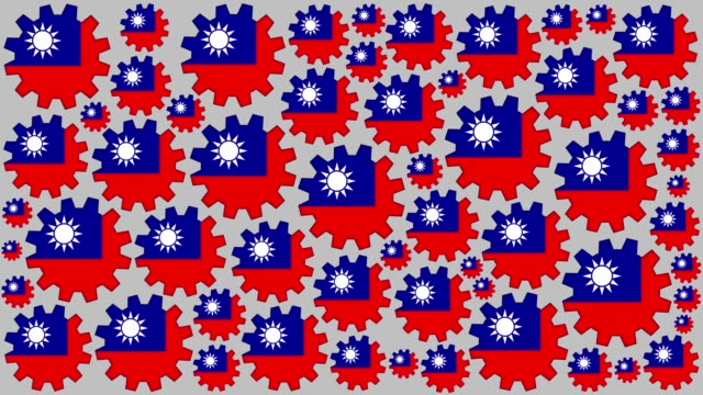 taiwanese flag gears spinning background - taiwanese flag stock videos & royalty-free footage