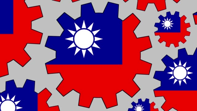 taiwanese flag gears spinning background zooming out - taiwanese flag stock videos & royalty-free footage