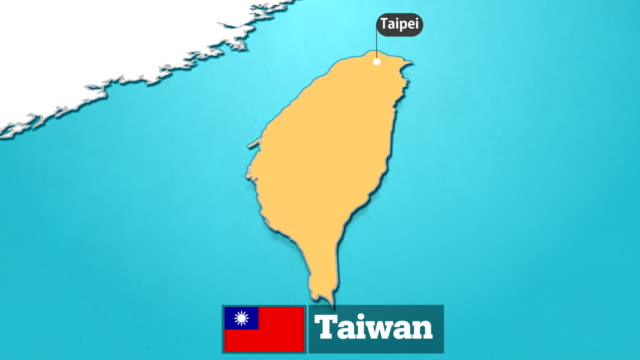 taiwanese map with flag - taiwanese flag stock videos & royalty-free footage