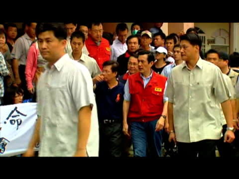 taiwanese president ma yingjeou arrives to speak with victims of typhoon morakot taiwan 12 august 2009 - taiwan stock videos & royalty-free footage