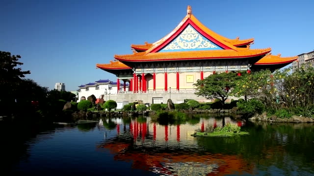 taiwan's national theater reflection in guanghua ponds - chiang kaishek memorial hall stock videos & royalty-free footage