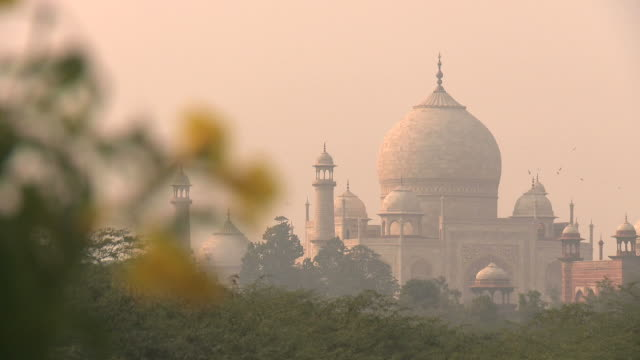 taj in morning mist - agra stock videos and b-roll footage
