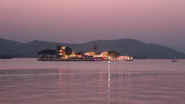Taj Lake Palace Hotel on Lake Pichola at Night, Udaipur, India
