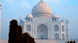 Taj Mahal - a mausoleum mosque, located in Agra, India, on the banks of Yamuna