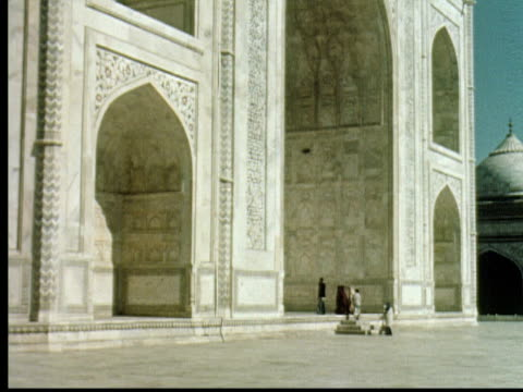 1960 montage taj mahal from various angles / agra, india - mausoleum stock videos and b-roll footage