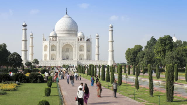 taj mahal, unesco world heritage site, agra, uttar pradesh state, india, asia - taj mahal stock videos and b-roll footage