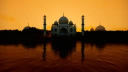 Taj Mahal water reflection during a hot sunny day, 4K