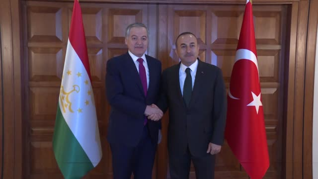 tajik foreign minister sirojiddin muhriddin meets with turkish foreign minister mevlut cavusoglu in ankara turkey on april 22 2019 - foreign minister stock videos and b-roll footage