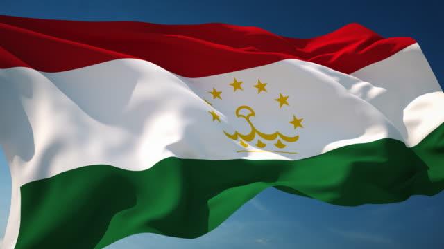 4 k tadschikistan flagge-endlos wiederholbar - fahnenstange stock-videos und b-roll-filmmaterial