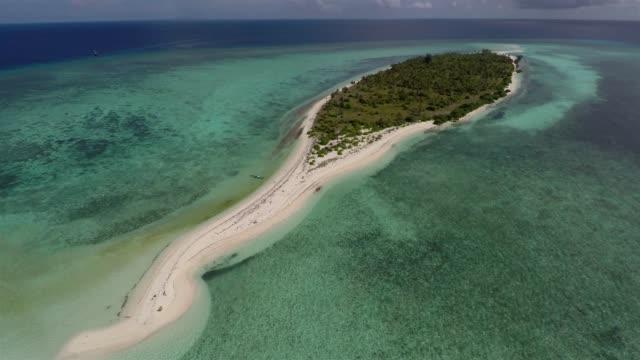 taka bonerate island atoll aerial - desert island stock videos & royalty-free footage