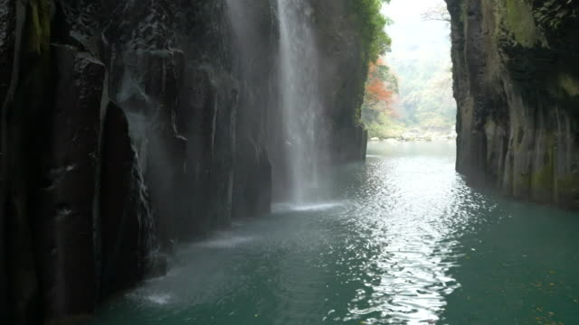 aerial, takachiho gorge, miyazaki, japan - rock formation stock videos & royalty-free footage