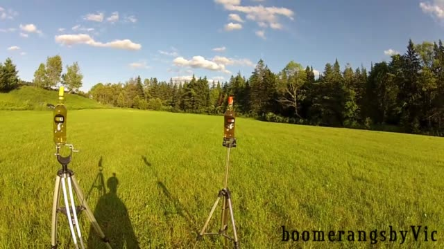 vídeos de stock e filmes b-roll de take a look at this precise trick shot executed with a handcrafted returning boomerang from 'boomerangsbyvic' this does take a few attempts... - bumerangue