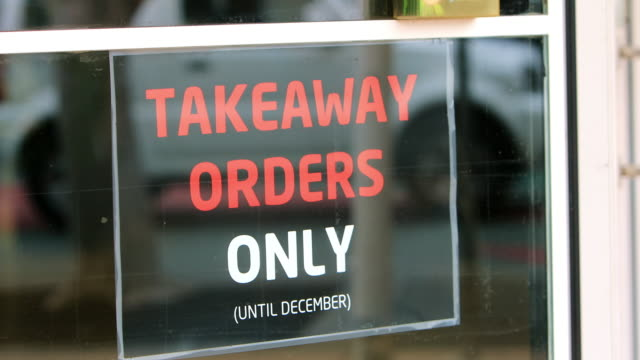take away only sign on cafe during covid-19 - closed stock videos & royalty-free footage