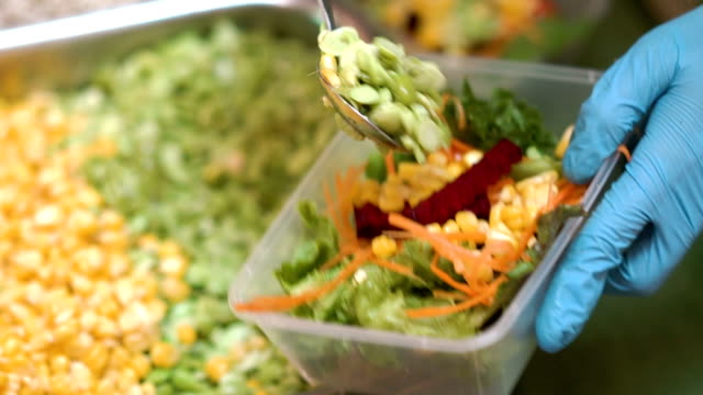 slo mo take away salad bar. - box container stock videos and b-roll footage