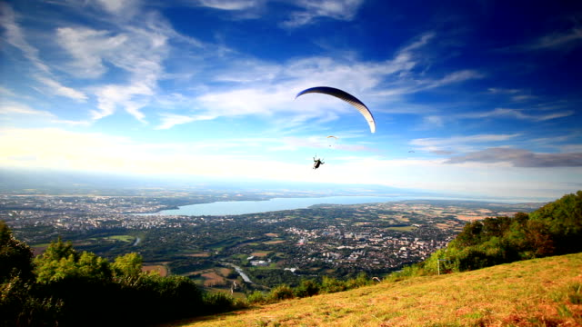 take off paraglider - parachuting stock videos & royalty-free footage